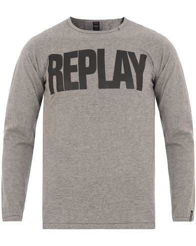 Replay M3038 Long Sleeve Logo Tee Grey Melange i gruppen T-Shirts / Langermede t-shirts hos Care of Carl (13002111r)