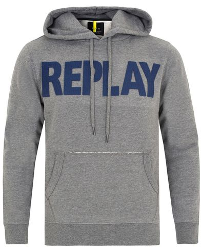 Replay M3132 Logo Hoodie Grey Melange i gruppen Tröjor / Huvtröjor hos Care of Carl (13002911r)