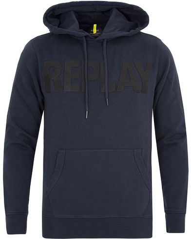 Replay M3132 Logo Hoodie Blue/Black i gruppen Tröjor / Huvtröjor hos Care of Carl (13003011r)