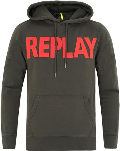 Replay M3132 Logo Hoodie Green i gruppen Kläder / Tröjor / Huvtröjor hos Care of Carl (13003111r)