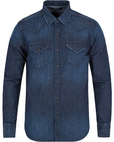 Replay M4860M Denim Pocket Shirt Dark Blue i gruppen Kläder / Skjortor / Jeansskjortor hos Care of Carl (13003311r)