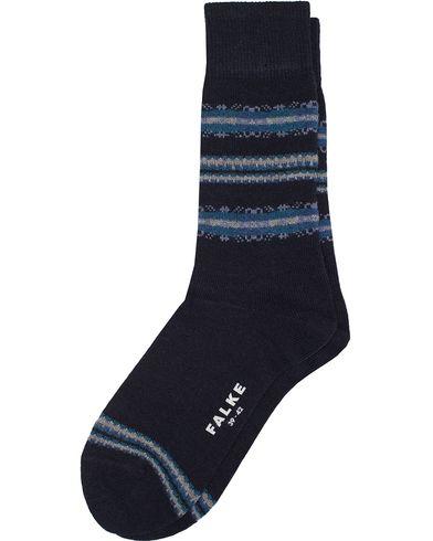 Falke Lhasa Cashmere Stripe Socks Navy i gruppen Undertøy / Sokker / Vanlige sokker hos Care of Carl (13004411r)