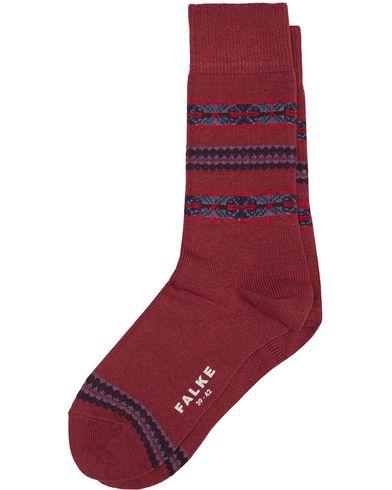 Falke Lhasa Cashmere Stripe Socks Red i gruppen Underkläder / Strumpor / Vanliga strumpor hos Care of Carl (13004611r)