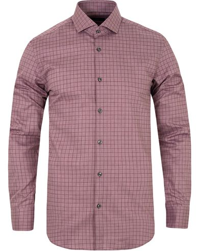 BOSS Jason Washed Check Slim Fit Shirt Dark Red i gruppen Skjortor / Casual skjortor hos Care of Carl (13008711r)