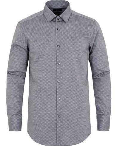 BOSS Jenno Dot Slim Fit Shirt Light Grey i gruppen Skjortor / Businesskjortor hos Care of Carl (13008911r)