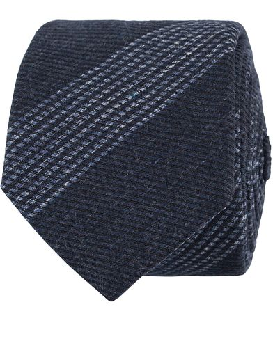 BOSS Stripe Diagonal Cotton 6 cm Tie Denim Blue  i gruppen Assesoarer / Slips hos Care of Carl (13009210)