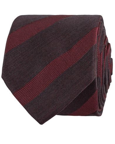 BOSS Stripe Diagonal Wool/Silk 6 cm Tie Dark Red  i gruppen Assesoarer / Slips hos Care of Carl (13009310)