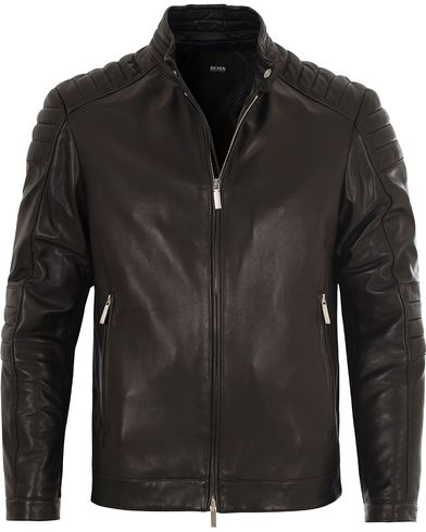 BOSS Narveyn Biker Leather Jacket Black i gruppen Jackor / Skinnjackor hos Care of Carl (13010911r)