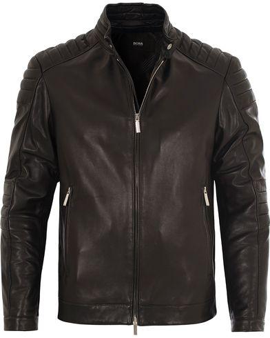 BOSS Narveyn Biker Leather Jacket Black i gruppen Jakker / Skinnjakker hos Care of Carl (13010911r)