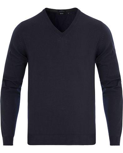 BOSS Melba Extrafine Merino V-Neck Pullover Navy i gruppen Design A / Gensere / Pullover / Pullovers v-hals hos Care of Carl (13012211r)