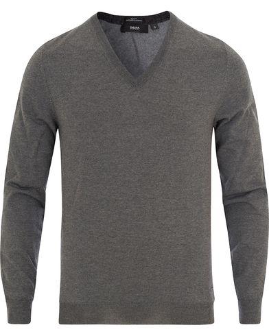 BOSS Melba Extrafine Merino V-Neck Pullover Grey Melange i gruppen Kläder / Tröjor / Pullovers / V-ringade pullovers hos Care of Carl (13012411r)