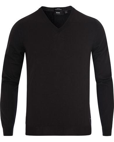 BOSS Melba Extrafine Merino V-Neck Pullover Black i gruppen Gensere / Pullover / Pullovers v-hals hos Care of Carl (13012511r)