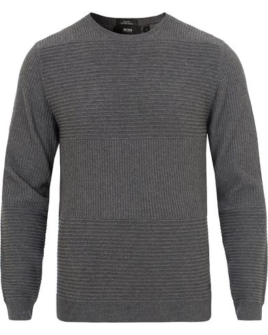 BOSS Banty Knitted Sweater Medium Grey Melange i gruppen Klær / Gensere / Strikkede gensere hos Care of Carl (13013211r)