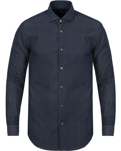 BOSS Ridley Denim Slim Fit Shirt Dark Blue i gruppen Skjorter / Jeansskjorter hos Care of Carl (13013411r)