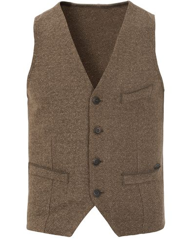 Boss Orange Wiktoria Herringbone Vest Dark Green i gruppen Kavajer / V�star hos Care of Carl (13015411r)