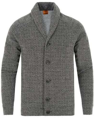 Boss Orange Wictim Herringbone Cardigan Charcoal i gruppen Gensere / Cardigans hos Care of Carl (13015511r)