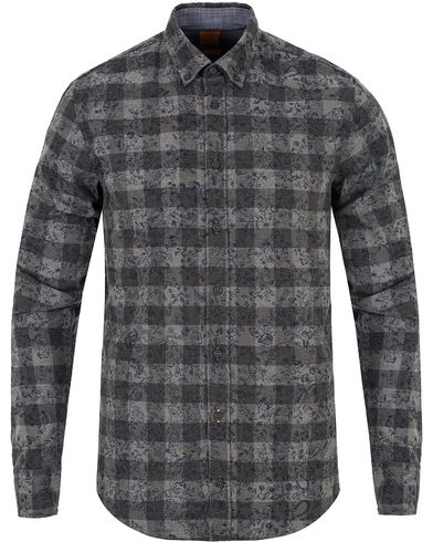 Boss Orange EdipoE Printed Flower Check Slim Fit Shirt Grey i gruppen Skjorter / Casual skjorter hos Care of Carl (13016311r)