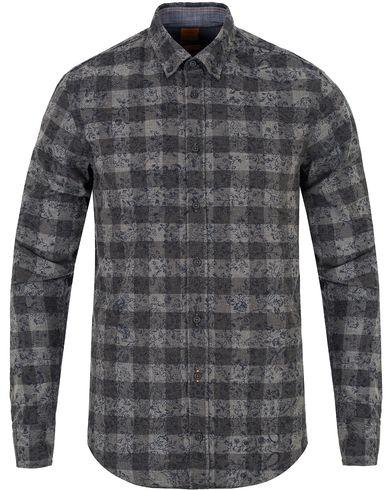 Boss Orange EdipoE Printed Flower Check Slim Fit Shirt Grey i gruppen Skjortor / Casual Skjortor hos Care of Carl (13016311r)