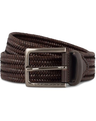 BOSS Semyo Braided Leather 3,5cm Belt  Dark Brown i gruppen Accessoarer / Bälten / Flätade bälten hos Care of Carl (13018311r)
