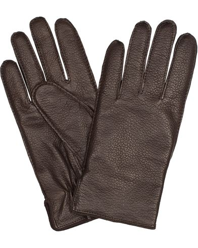 BOSS Kranto 3 Graid Leather Gloves Dark Brown i gruppen Säsongens nyckelplagg / Promenadhandskarna hos Care of Carl (13018711r)