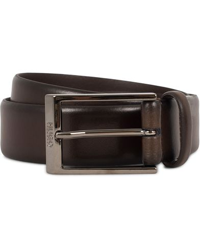 Hugo C-Gamal 3,5 cm Leather Belt Dark Brown i gruppen Accessoarer / Bälten / Släta bälten hos Care of Carl (13020811r)