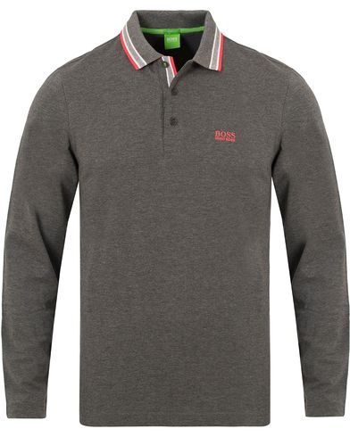 Boss Green Plisy Long Sleeve Polo Mid Grey Melange i gruppen Pik�er / L�ng�rmad Pik� hos Care of Carl (13023811r)