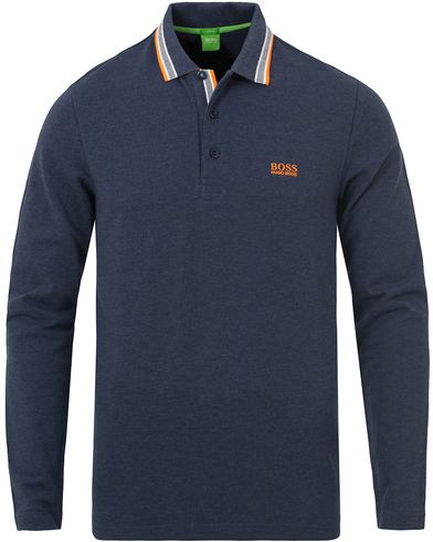 Boss Green Plisy Long Sleeve Polo Blue Melange i gruppen Pikéer / Långärmade pikéer hos Care of Carl (13023911r)