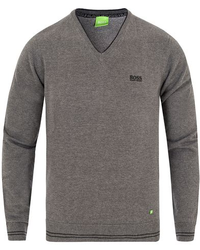 Boss Green Rime Pullover Crew Neck Mid Grey Melange i gruppen Tröjor / Pullovers / V-ringade pullovers hos Care of Carl (13024911r)