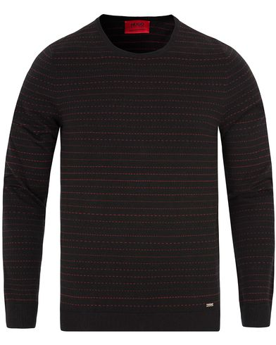 Hugo Samf Horizental Pinstripe Sweater Black/Red i gruppen Tröjor / Stickade tröjor hos Care of Carl (13026011r)