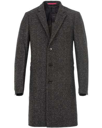 PS by Paul Smith Herringbone Tailored Wool Coat Black i gruppen Jakker / Vinterjakker hos Care of Carl (13028411r)
