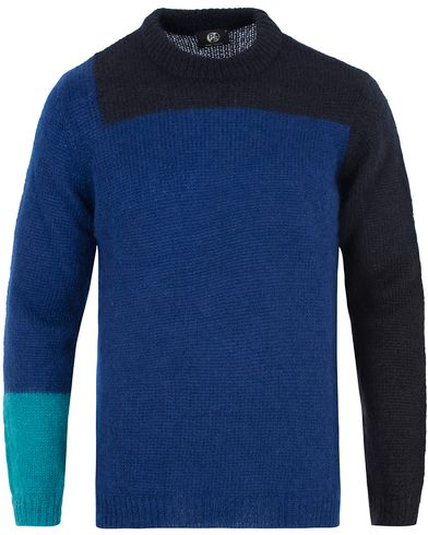 PS by Paul Smith Knitted Crew Neck Kid Mohair Sweater Black/Blue i gruppen Gensere / Strikkede gensere hos Care of Carl (13028811r)