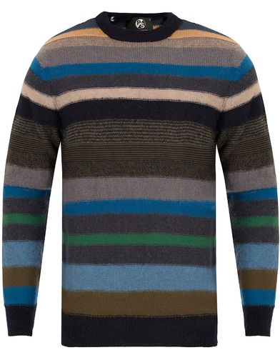 PS by Paul Smith Knitted Striped Crew Neck Sweater Dark Multi i gruppen Gensere / Strikkede gensere hos Care of Carl (13029011r)