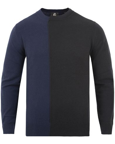 PS by Paul Smith Wool/Nylon Twoway Coloured Sweater Navy i gruppen Kläder / Tröjor / Stickade tröjor hos Care of Carl (13029411r)