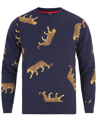 PS by Paul Smith Cotton Leopard Sweater Blue i gruppen Design A / Gensere / Sweatshirts hos Care of Carl (13029511r)
