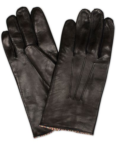 Paul Smith Leather Striped Gloves Black i gruppen Säsongens nyckelplagg / Promenadhandskarna hos Care of Carl (13032711r)