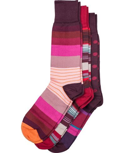 Paul Smith 3-Pack Striped Socks Pink/Red  i gruppen Klær / Undertøy / Sokker / Vanlige sokker hos Care of Carl (13035610)