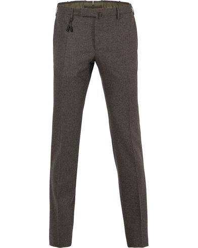 Incotex Super 100´s Flannel Trousers Medium Brown i gruppen Design A / Bukser / Flanellbukser hos Care of Carl (13044711r)