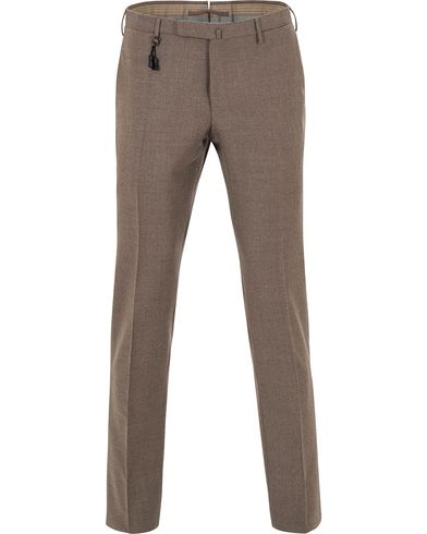 Incotex Super 100´s Light Flannel Trousers Light Brown i gruppen Kläder / Byxor / Flanellbyxor hos Care of Carl (13045111r)