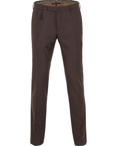 Incotex Super 100´s Light Flannel Trousers Dark Brown i gruppen Bukser / Flanellbukser hos Care of Carl (13045211r)