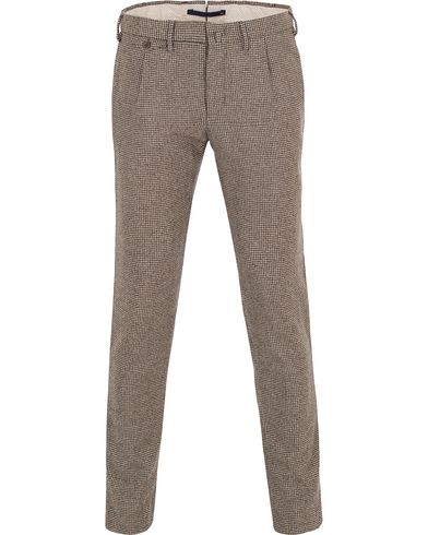 Incotex Slim Tapered Wool Houndstooth Trousers Brown i gruppen Klær / Bukser / Flanellbukser hos Care of Carl (13045411r)