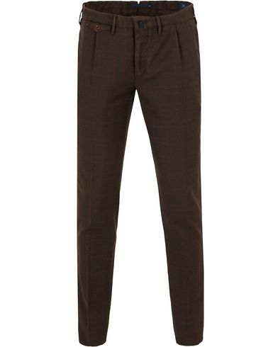 Incotex Slim Tapered Wool Glenncheck Trousers Rost i gruppen Klær / Bukser / Flanellbukser hos Care of Carl (13045511r)