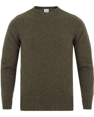 Aspesi Crew Neck Shetland Knit Moss Green i gruppen Tröjor / Stickade tröjor hos Care of Carl (13047411r)