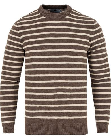 NN07 Mike Striped Knitted Sweater Brown/White i gruppen Tröjor / Stickade tröjor hos Care of Carl (13053611r)