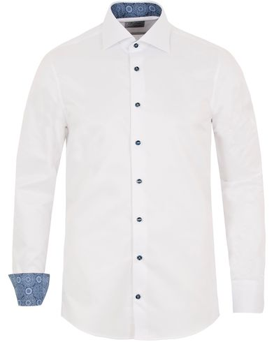 Stenströms Slimline Contrast Medallion Shirt White i gruppen Klær / Skjorter / Formelle skjorter hos Care of Carl (13054111r)