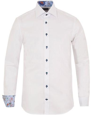 Stenströms Slimline Contrast Flower Shirt White i gruppen Skjortor / Formella skjortor hos Care of Carl (13054511r)