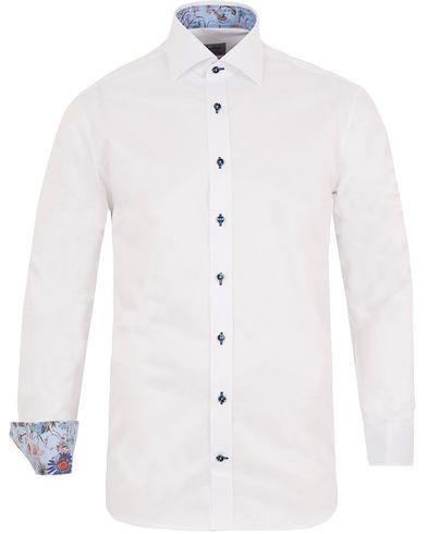 Stenstr�ms Fitted Body Contrast Flower Shirt White i gruppen Skjorter / Businesskjorter hos Care of Carl (13054611r)