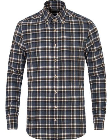 Stenströms Slimline Flannel Check Shirt Blue i gruppen Skjorter / Flanellskjorter hos Care of Carl (13055511r)