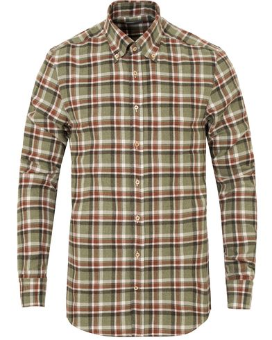 Stenstr�ms Slimline Flannel Check Shirt Green i gruppen Skjorter / Casual Skjorter hos Care of Carl (13055611r)
