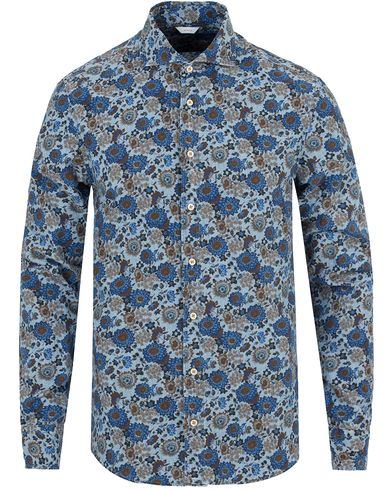 Stenströms Slimline Washed Flower Print Shirt Blue i gruppen Skjortor / Casual skjortor hos Care of Carl (13055811r)
