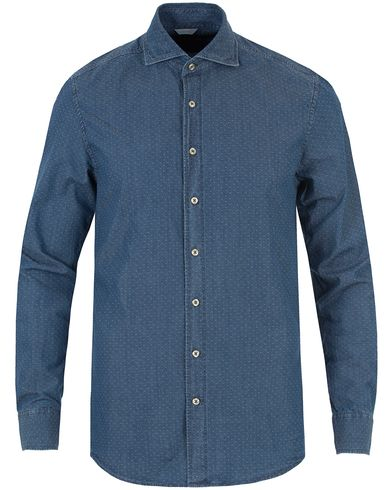 Stenströms Slimline Washed Denim Shirt Dark Blue i gruppen Klær / Skjorter / Jeansskjorter hos Care of Carl (13055911r)